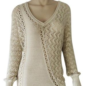 Cache Peek A Boo Metallic Kissed Knit Double V Tie